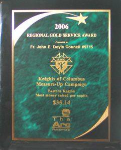 Regional Gold Service Award, 2006