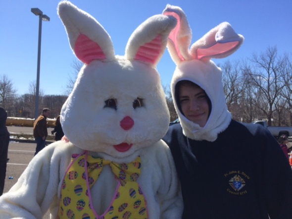 Tim the Easter Bunny arrives to kick of the festivities